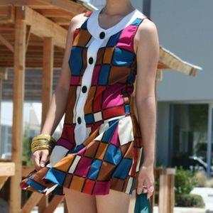 Dresses & Skirts - Colorblock Sleeveless Button Down Retro Dress